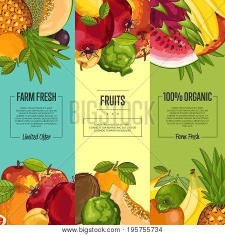 Farm fresh fruit flyers vector illustration. Natural sweet product, juicy fruit, vegan nutrition, organic healthy food advertising. Plum, kiwi, persimmon, lemon, peach, watermelon, pomegranate, orange