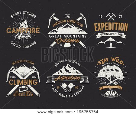 Set of mountain climbing labels, mountains expedition emblems, vintage hiking silhouettes logos and design elements. retro letterpress style isolated. Wilderness patches isolated on white.
