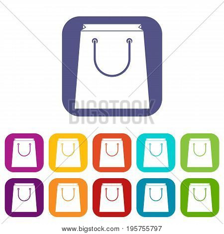 Paper shopping bag icons set vector illustration in flat style In colors red, blue, green and other