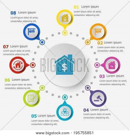 Infographic template with real estate icons, stock vector