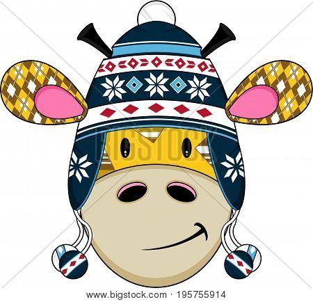 Cute Cartoon Giraffe in Snowflake Wooly Hat
