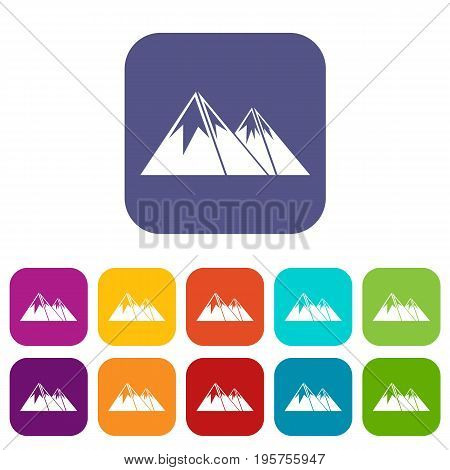 Mountains with snow icons set vector illustration in flat style In colors red, blue, green and other