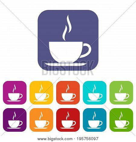 Cup of hot drink icons set vector illustration in flat style In colors red, blue, green and other