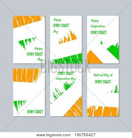 Ivory Coast Patriotic Cards For National Day. Expressive Brush Stroke In National Flag Colors On Whi