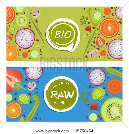 Raw food horizontal flyers set vector illustration. Vegetarian, gmo free, fresh and natural, best quality, healthy lifestyle, bio and eco nutrition concept. Fruits and vegetables colorful background.