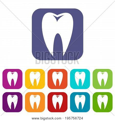 Tooth icons set vector illustration in flat style In colors red, blue, green and other