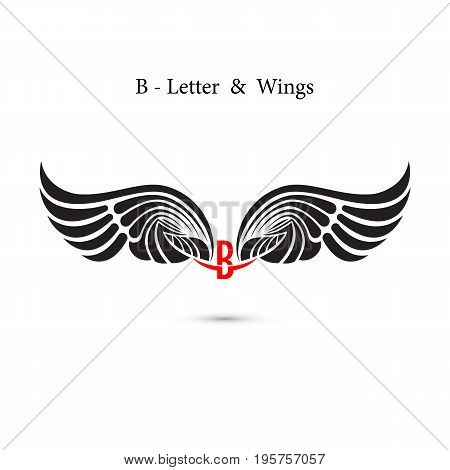 B-letter sign and angel wings.Monogram wing logo mockup.Classic emblem.Elegant dynamic alphabet letters with wings.Creative design element.Corporate branding identity.Flat web design wings icon.Vector illustration.
