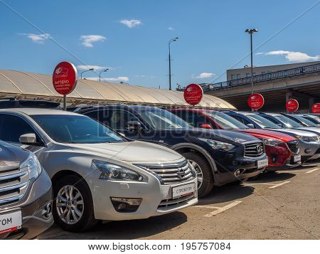 Used car parking for sale. Trade in cars. Russia Moscow May 2017.