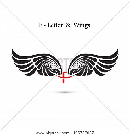 F-letter sign and angel wings.Monogram wing logo mockup.Classic emblem.Elegant dynamic alphabet letters with wings.Creative design element.Corporate branding identity.Flat web design wings icon.Vector illustration.
