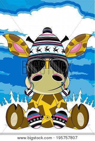 Cute Cartoon Giraffe in Wooly Hat and Sunglasses