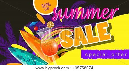 summer sale template banner vector illustration with sun