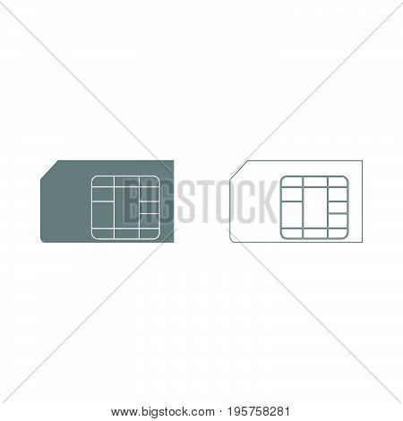 Sim Card The Grey Set Icon .