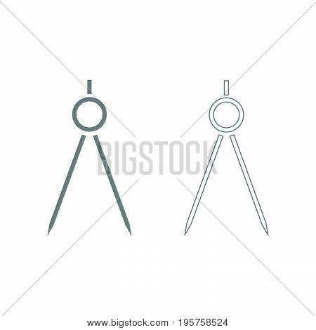 Pair Of Compasses The Grey Set Icon .