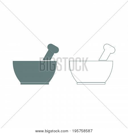 Mortar And Pestle The Grey Set Icon .