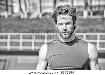 Handsome Fashionable Man Has Stylish Hair In Sportswear, Sport Fashion