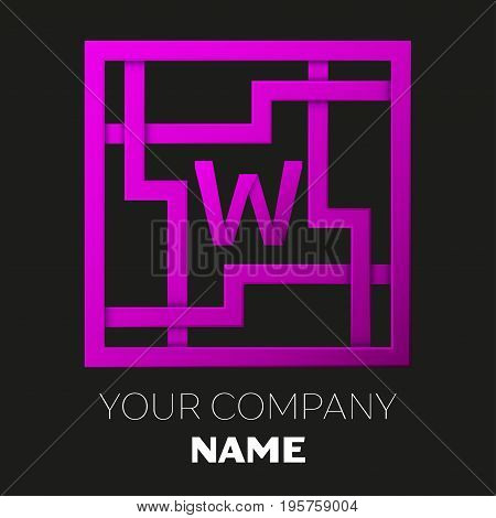 Realistic Letter W vector logo symbol in the colorful square maze on black background. Shadow Breaks. Vector template for your design
