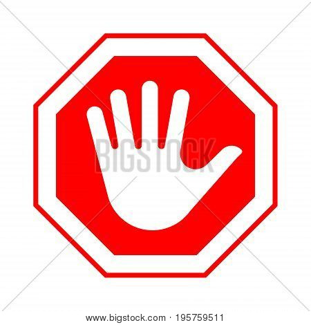 Red octagonal stop sign with hand. Vector illustration.
