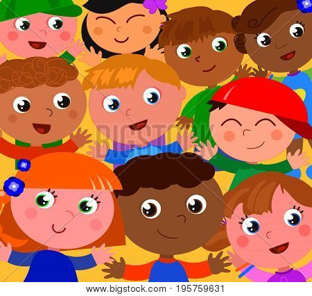 Smiling exultant kids from different part of the world. Cartoon vector illustration