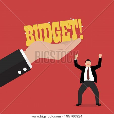 Big hand give a budget to businessman. Business concept