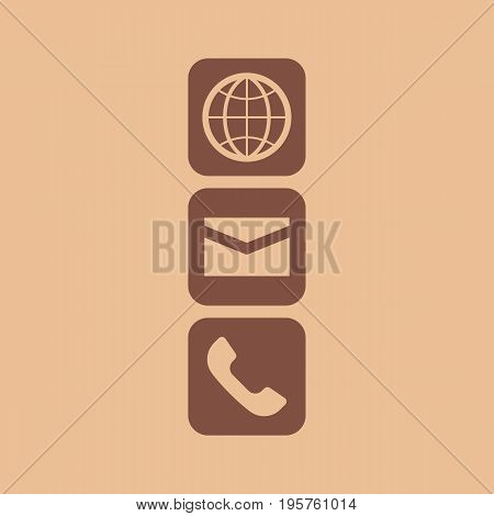 Globe Email and Phone icon. Contact icon set vector illustration