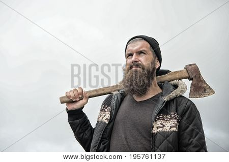 Man Hipster Or Guy With Beard And Moustache