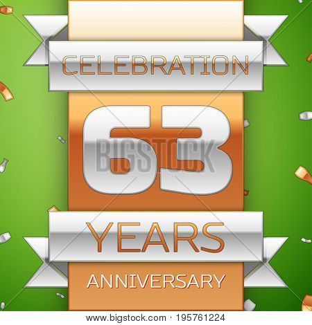 Realistic Sixty three Years Anniversary Celebration Design. Silver and golden ribbon, confetti on green background. Colorful Vector template elements for your birthday party. Anniversary ribbon