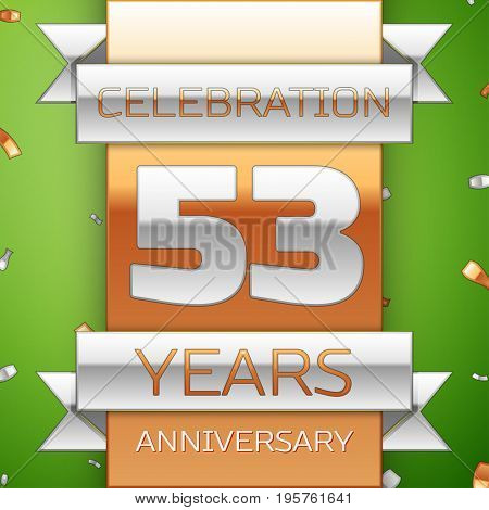 Realistic Fifty three Years Anniversary Celebration Design. Silver and golden ribbon, confetti on green background. Colorful Vector template elements for your birthday party. Anniversary ribbon