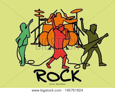 Rock band playing. Vector illustration of rock band playing and performing together on stage. Retro  style.