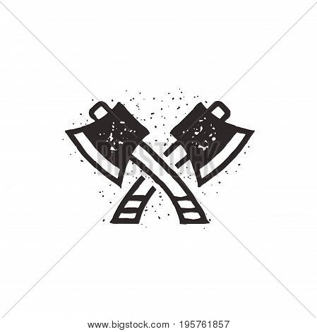 Two crossed axes illustration. Silhouette style. Textured lumberjack symbol. Simple design, letterpress effect. Isolated on white background.