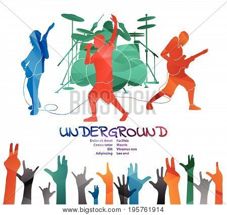 Underground rock band performing. Vector illustration of underground rockers performing and people with hands up silhouettes. Colored silhouettes