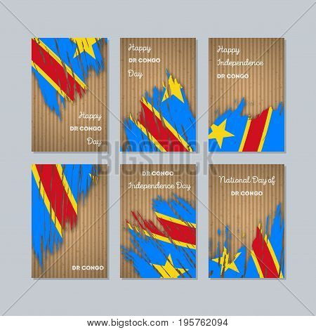 Dr Congo Patriotic Cards For National Day. Expressive Brush Stroke In National Flag Colors On Kraft