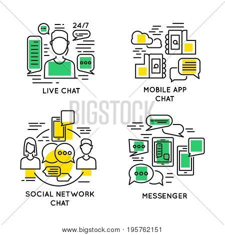 Linear people online communication concept with live social network application chats and messengers isolated vector illustration