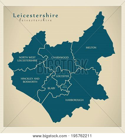 Modern Map - Leicestershire County With Detailed Captions Uk Illustration