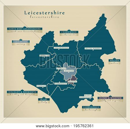 Modern Map - Leicestershire County With District Labels Uk Illustration
