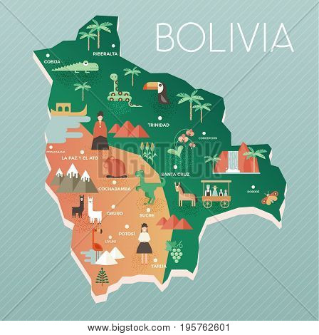 Vector illustration map of Bolivia with nature animals and people in traditional clothes. Flat design style