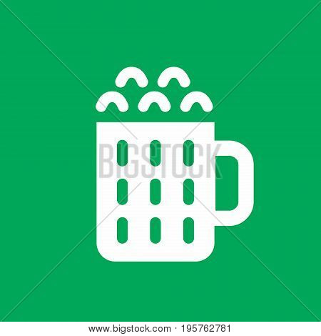 Mug of beer simple icon, vector illustration on green background