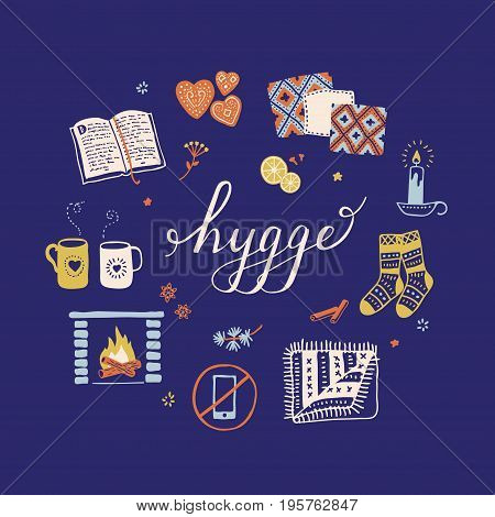 Vector illustration with Hygge lettering and cozy home things like candles socks oversize rug tea fireplace. Danish living concept. Greeting card template hand drawn style.
