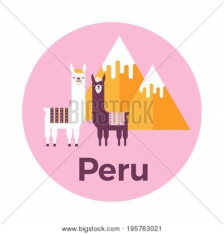 Vector illustration stickers or label of Peru with mountains and lamas. Flat design style.