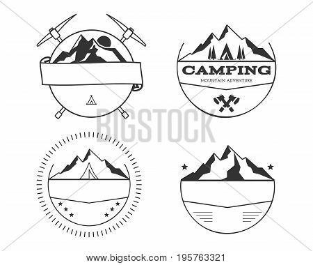 Set of blank vintage summer camp badges and outdoor logo templates, emblems and labels