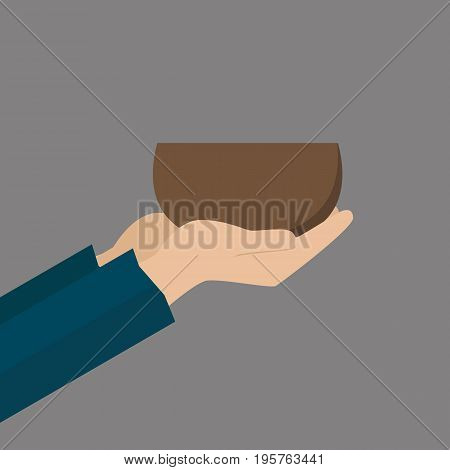 Hands of beggar with bowl. Vector illustration