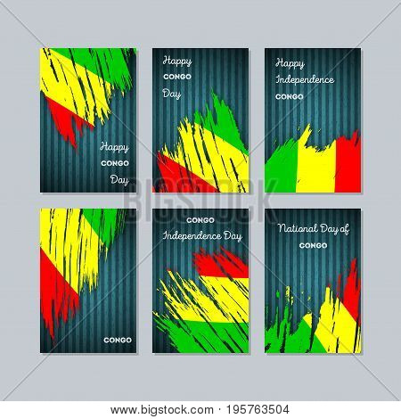 Congo Patriotic Cards For National Day. Expressive Brush Stroke In National Flag Colors On Dark Stri