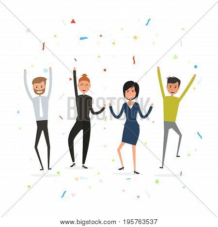 Successful business teamwork concept.Happy young business people.Business team of employees.Team of happy young man & woman icon.Business company partners.Vector illustration