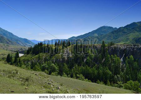 Precipice green hills forest and Katun river in Altai mountains. Altay Republic Siberia Russia.
