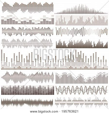 Vector set of brown sound waves. Audio equalizer. Sound & audio waves isolated on white background.
