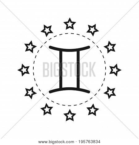 Gemini. Sign of the zodiac. Flat symbol horoscope and predictions. Vector object for design