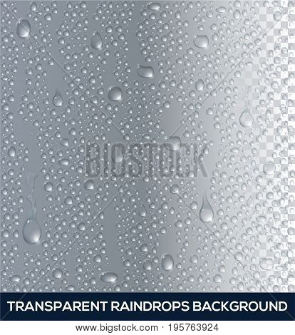 Vector realistic Background of raindrops. Raindrops on glass. Transparent water drop. Vector illustration