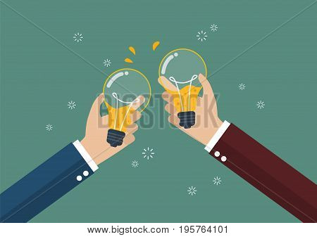 Businessmen toasting a lightbulb with beer inside. Creative idea concept