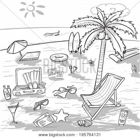 Doodle beach vacation concept with palm tree cocktail bag shells tickets starfish cream recliner umbrella sunglasses surfing board vector illustration