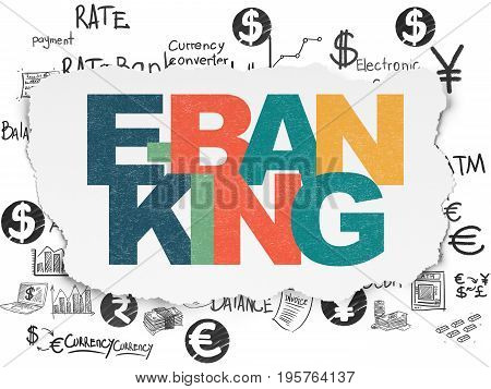 Currency concept: Painted multicolor text E-Banking on Torn Paper background with  Hand Drawn Finance Icons