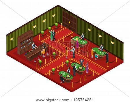 Isometric casino gaming room concept with visitors playing poker roulette and woman drinking cocktail at bar vector illustration